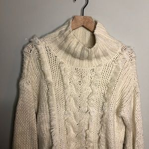 Lou and Grey Cream Fringe Cable Knit Sweater